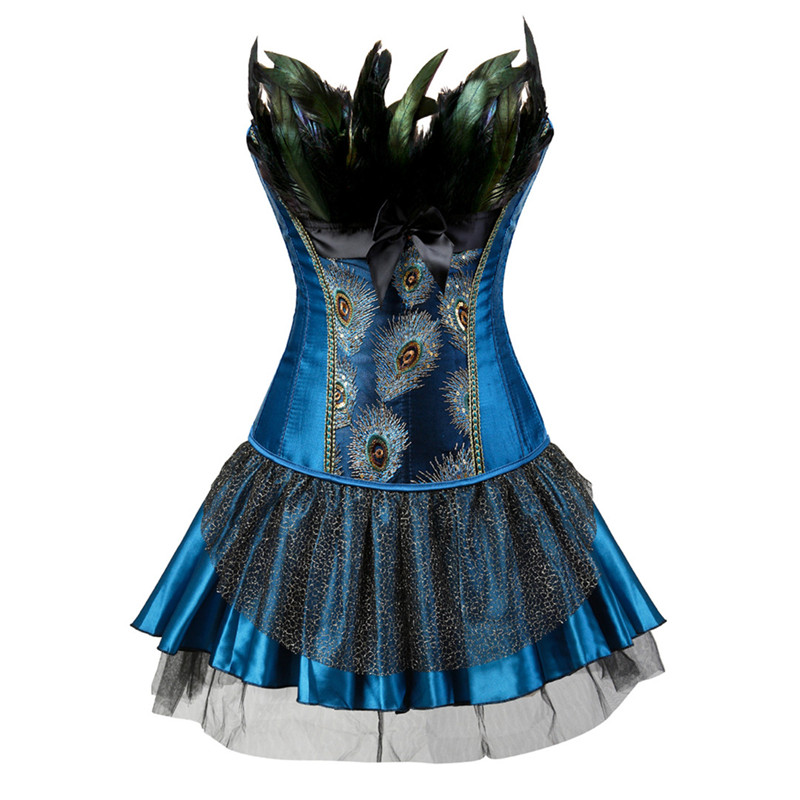 Corsets     Bustiers   Peacock Embroidery   Corset   with Skirt Princess Burlesque Overbust   Corsets   Dresses with Skirt Feather Plus Size