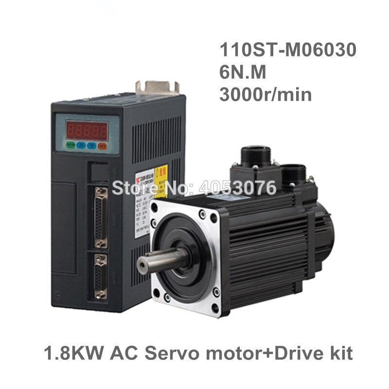 1.8KW AC servomoteur 6N. M 3000 tr/min 110ST-M06030 AC moteur + pilote de servomoteur assorti + 3 M câble kits de moteur complets de haute qualité