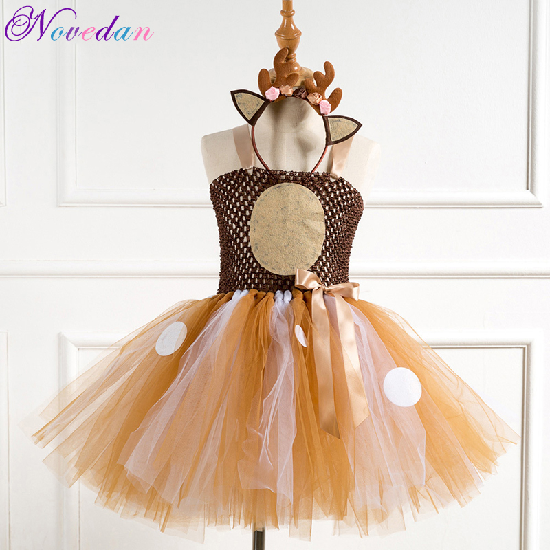Fawn Bambi Sika Deer Tutu Dress Halloween Costume For Baby Girls Kids Birthday Party Dress Children Cosplay Animal Sika Deer