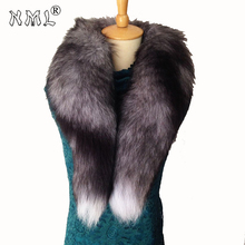 New 2018 Mens Real Fur Scarf Woman To Keep Warm Shawl, Soft Super big Gray Silver Fox on the Collar Natural Accessorie