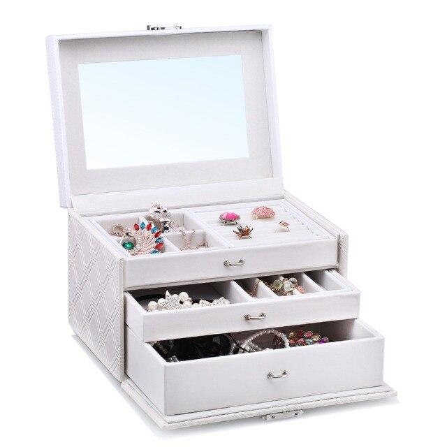 Large Cream White Jewelry Box PU Jewellery Organizer Rings Earrings