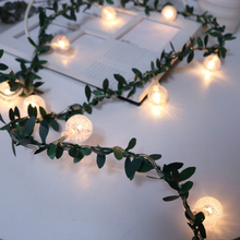 Simulation green leaf cane flower vine LED bubble beads light string wire DIY wedding wreath ornament