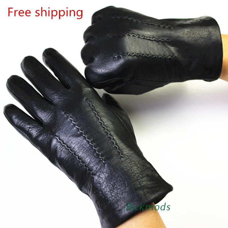 2017 men Winter genuine Leather Gloves Deerskin Watermark Pattern Wool Lining, Velvet Imitation Rabbit Lining Free Shipping