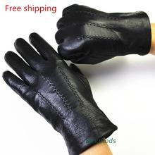 2019 men Winter genuine Leather Gloves Deerskin Watermark Pattern Wool Lining, Velvet Imitation Rabbit Lining Free Shipping