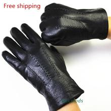 men Winter genuine Leather Gloves Deerskin Watermark Pattern Wool Lining, Velvet Imitation Rabbit Lining Free Shipping