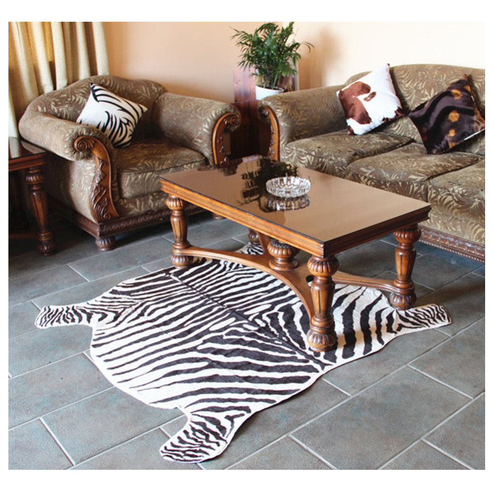 2 piece zebra print rug cowhide rug classic safari large area mat for home carpet anti