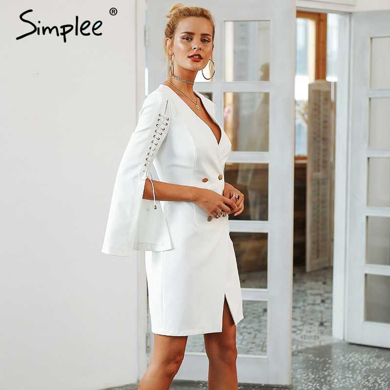 Просто, элегантно на шнуровке Сплит Блейзер женское платье осень 2019 двубортное белое платье офисное тонкое Дамское Платье vestidos