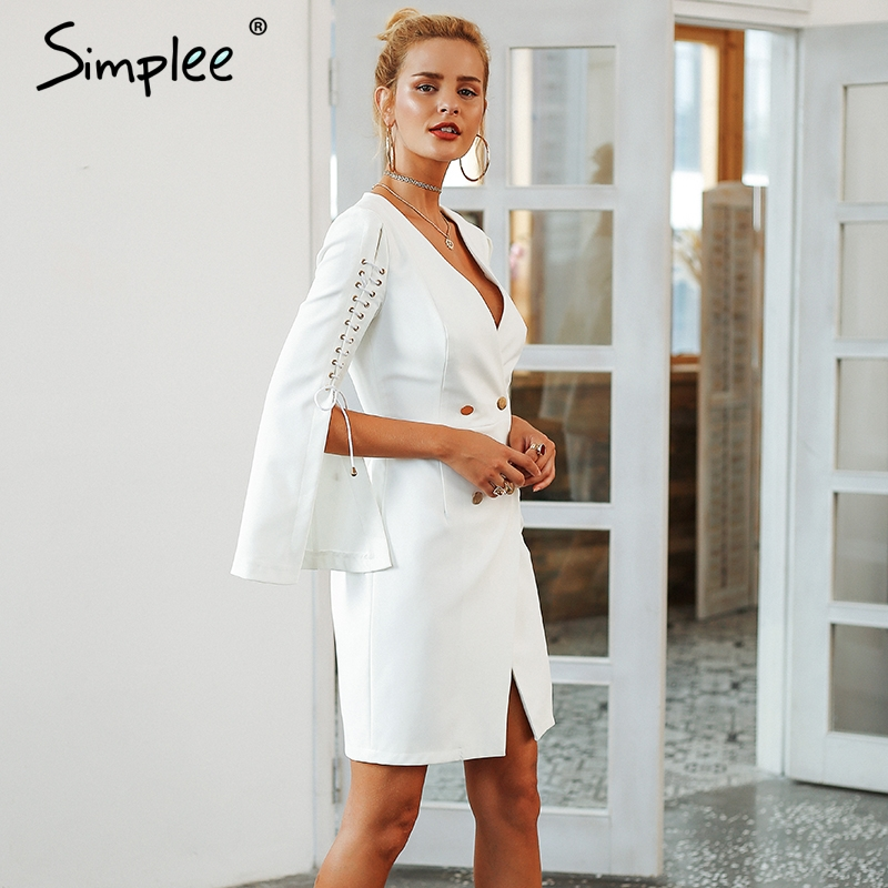 96142ff09e Simplee Elegant lace up split blazer women dress Autumn 2018 double  breasted white dress Office slim ladies dresses vestidos – zzoot