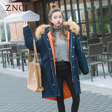 ZNCJ Korean Style Knee Longth Warm Parkas Women s Fashion Thick Cotton Outwear With Fur Collar