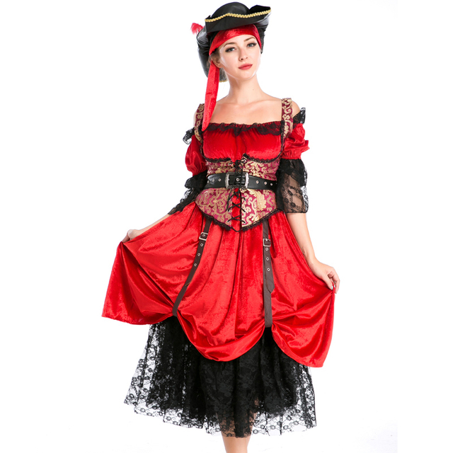 New Women Red Dress Pirates Of The Caribbean Cosplay Costume Halloween  Carnival Pirate Costume Girls Princess Dress A158731 ab38f08651be
