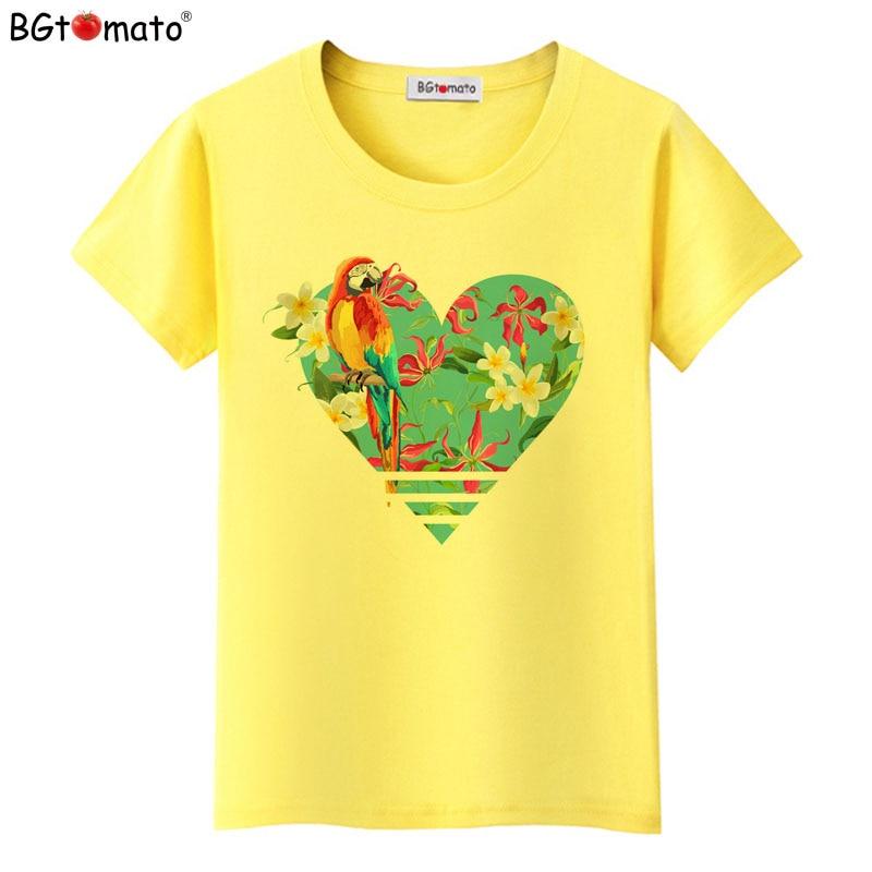 BGtomato T shirt parrot flower beautiful tee shirt Hot sale women clothes Super cool brand tshirt women Good quality casual top