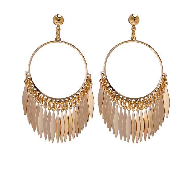 Female Hoop Tel Drop Earrings Gold Color Statement Leaf Tels Summer Party Dangle For Women