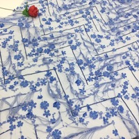 5yards jio001# luxury blue flower 3d feather embroidery lace fabric for wedding bridal dress