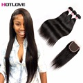 8A Malaysian Virgin Hair With Closure Rosa Hair Products Straight Hair With Closure Virgin Human Hair 3 Bundles With Closure
