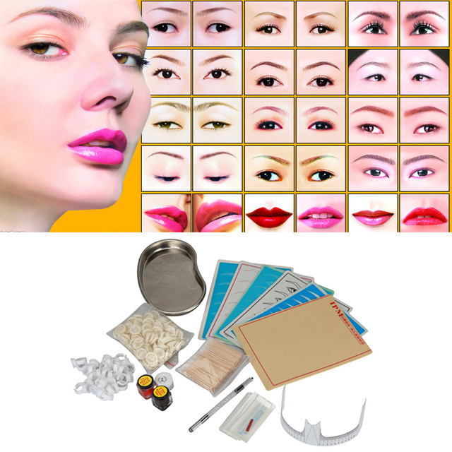 GRACEFUL 1set  Microblading Eyebrow Lip Tattoo Pigment Manual Pen Practice Skin Needles Kit Small tool tray maquiagem TOOL NOV25