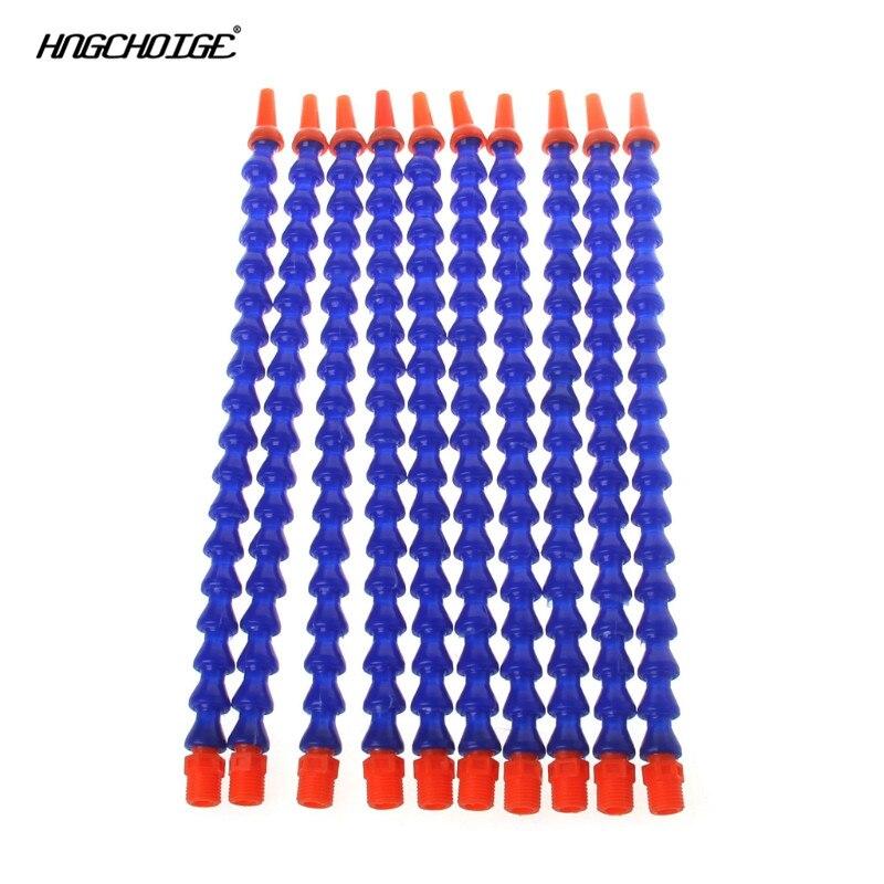 10 Pcs Round Nozzle 1/4PT Flexible Oil Coolant Pipe Hose Blue Orange