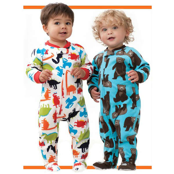 Foreign brand-name high-grade boys and girls fleece with foot piece climbing clothes leotard Romper warm pajamas tracksuit