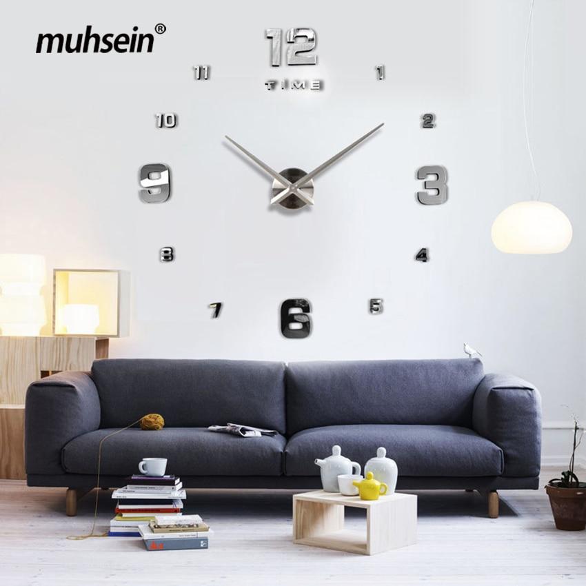 Envío gratuito 2019 Nueva decoración del hogar reloj de pared espejo grande diseño moderno 3D DIY grandes relojes de pared decorativos reloj regalo único