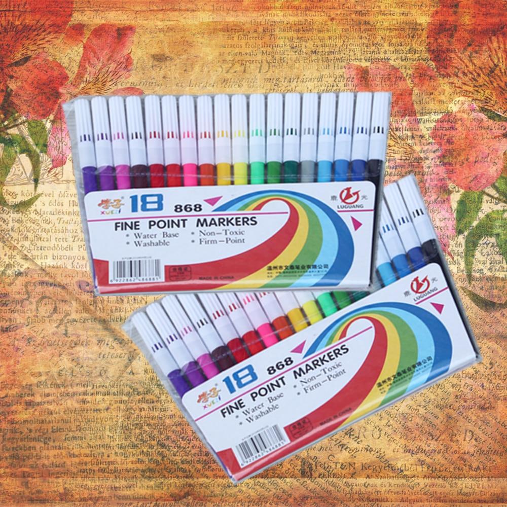 18 cores caneta marcador de arte desenho caneta aquarela crianças diy scrapbooking marcador caneta escola artigos de papelaria suprimentos