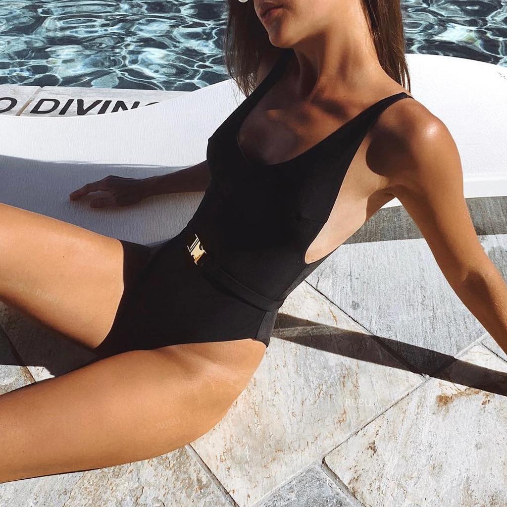 Bikinis 2020 mujer Women Fashion Pure Color Push-Up Padded Bra Beach Bikini One Piece Swimwear Cover up Dropping biquini bathers 2