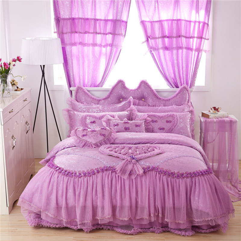 Luxury Wedding Bedding Set Lace Stain Cotton Fabric King Queen Twin size Girls Princess Bed skirt set Duvet Cover Pillow 36