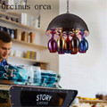 American Creative red wine cup chandelier bar restaurant coffee shop personalized color glass pendant lamp free shipping-in Pendelleuchten aus Licht & Beleuchtung bei