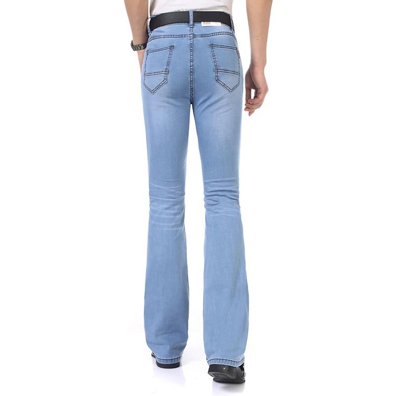 2016Casual Mens Bell Bottom Jeans Business Blue Mid Waist Slim Fit Boot Cut Semi-flared Flare Leg Denim Pants Plus Size MB16239 motorcycle new cnc billet short folding brake clutch levers for bimota db 5 s r 1100 2006 11 07 09 10 db 7 1100 db 8 1200 08 11