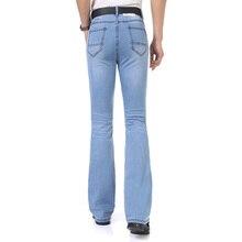 2016Casual Mens Bell Bottom Jeans Business Blue Mid Waist Slim Fit Boot Cut Semi-flared Flare Leg Denim Pants Plus Size MB16239