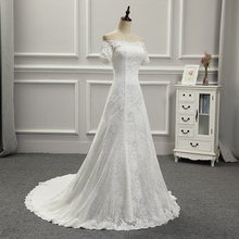 Style Custom made Lace Short Sleeves Boat Neck with Appliques Back Lace Up Mermaid Court Train Wedding Dress