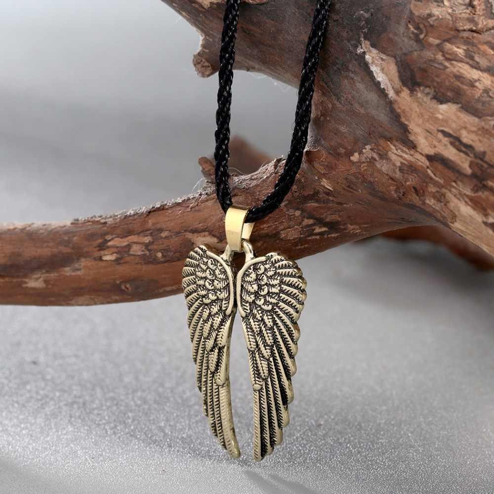 CHENGXUN czarna lina przewód anioł skrzydła z piór Charms Slip-on naszyjnik szczotkowane antyczne biżuteria prezent dla chłopaka