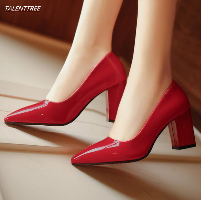2018 fashion comfortable shoes woman high heels square heels pointed toe wedding  shoes women pumps Office leather zapatos mujer 78aaf7cc8984