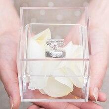 Aila кристально чистое кольцо держатель акриловое предложение коробка обручальное кольцо коробки романтическая Дата Подарок настраиваемый логотип
