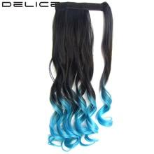 [DELICE] 22 дюймовый Цветной Ombre женщин Синтетические Парики Длинные Волнистые Hook & Loop Ленты Wrap На Хвост, 90 г/шт.