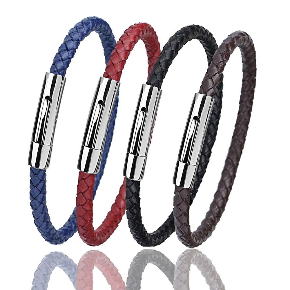 Kirykle Genuine Leather Bracelet Men Stainless Steel Leather Bracelets Ladies Leather Braided Jewelry Charm Bangle