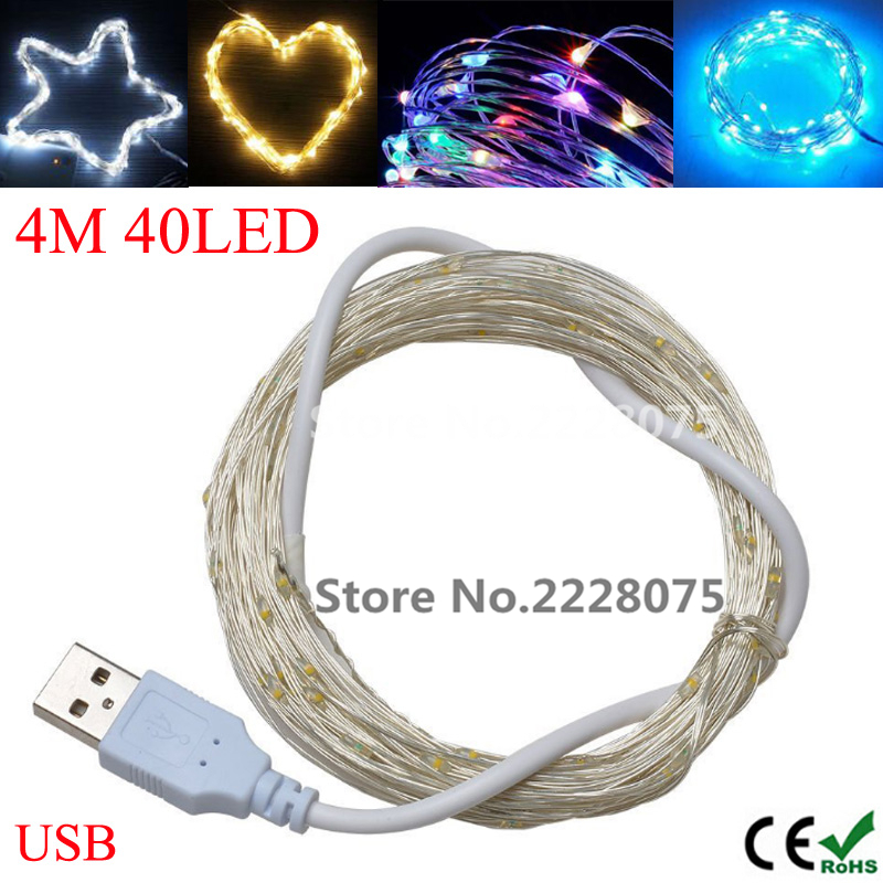 400cm 13.12ft 40 led DC 5V USB powered colourful/blue led silver wire string lights christmas festival wedding party decoration