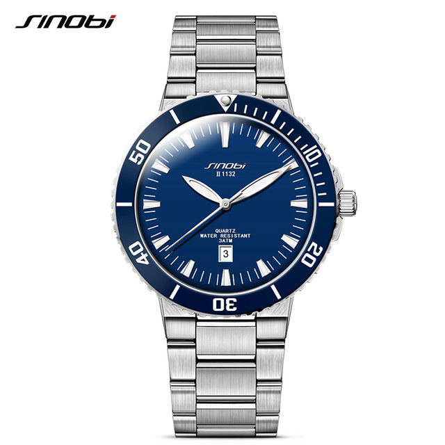 SINOBI для мужчин наручные часы Топ Элитный бренд 3Bar водостойкий сталь ремешок мужской формальные спортивные Женева Кварцевые часы 007 Saat