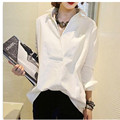 2017 Women Shirts long sleeve shirt Europe Style Cotton Blouses Women Loose Big size Cute Korean Shirts white  blue