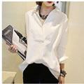 2017 Women Shirts long sleeve shirt Europe Style Cotton Blouses Women Loose Big size Cute Korean Shirts white  blue