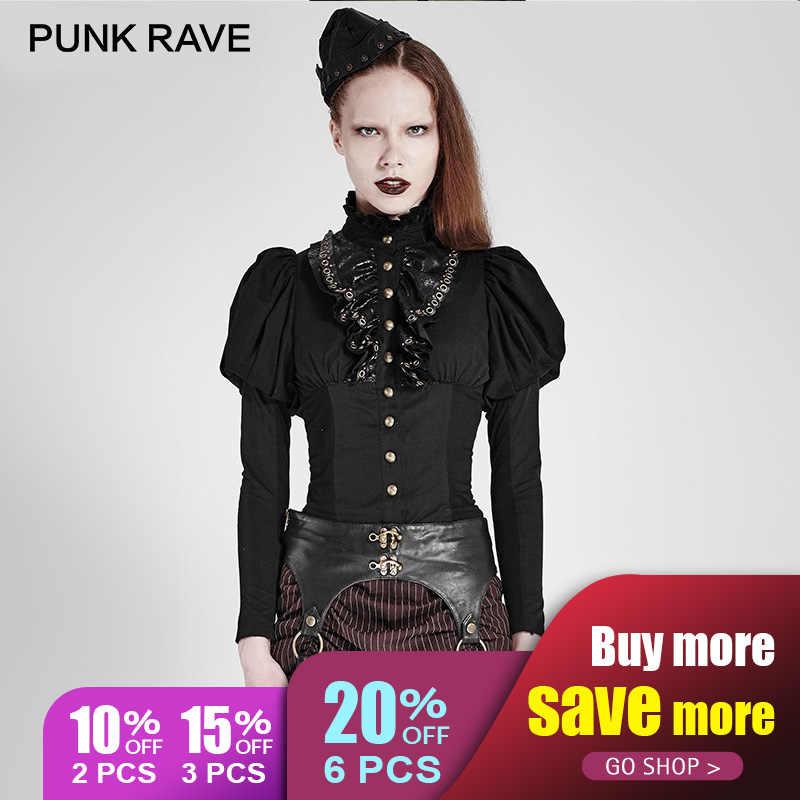 4043343891d8d PUNK RAVE 2017 New Design Gothic Black Corset Womens Shirt Steampunk Style  Lantern Sleeve Ruffle Lace
