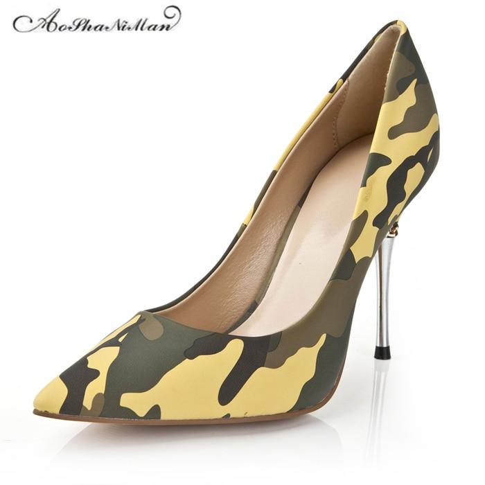 Spring Newest Camouflage color heels Fashion Pointed Toe Women Pumps Brand designer Genuine leather Dress work shoes 34-42Spring Newest Camouflage color heels Fashion Pointed Toe Women Pumps Brand designer Genuine leather Dress work shoes 34-42