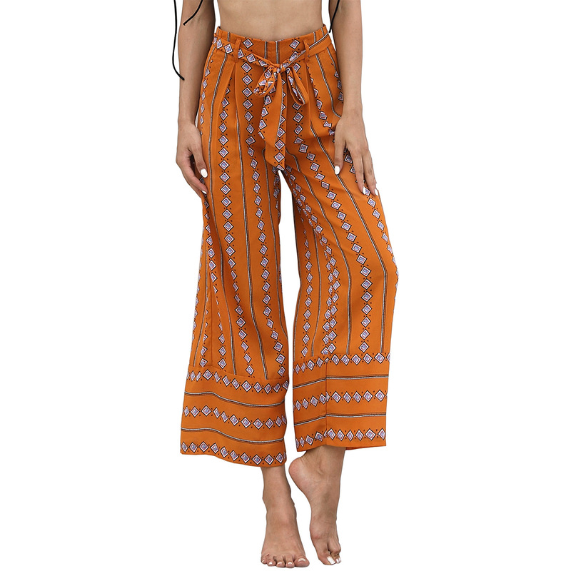 Aibo Carla Printed Sexy Belt High Waist Loose Straight Nine Points Casual   Wide     Leg     Pants