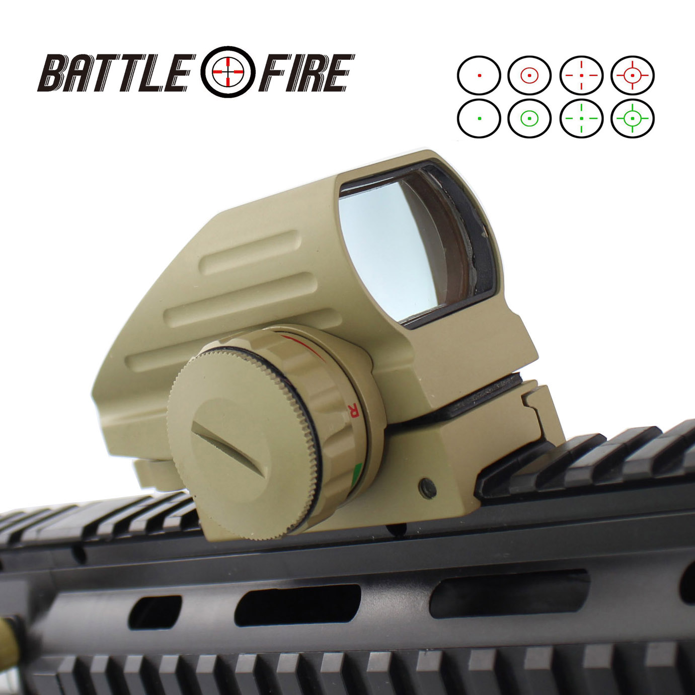 New 1X33  Collimator Sight For Hunting Rifle Scope Holographic Reflex 4 Reticles  Red Dot Sight Tactical Riflescope Tan Color
