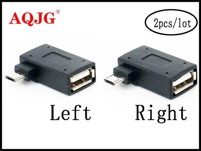2 ชิ้น/เซ็ต Micro Adapter USB 2.0 หญิงชาย Micro OTG แหล่งจ่ายไฟ 2018 พอร์ต 90 องศาซ้าย 90 ขวา USB OTG อะแดปเตอร์