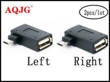 2 יח\סט מיקרו מתאם USB 2.0 נקבה לזכר מיקרו OTG כוח אספקת 2018 יציאת 90 תואר שמאל 90 ימין בזווית USB OTG מתאמים