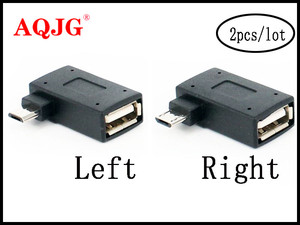 Image 1 - 2Pcs/set Micro Adapter USB 2.0 Female to Male Micro OTG Power Supply 2018 Port 90 Degree Left 90 Right Angled USB OTG Adapters