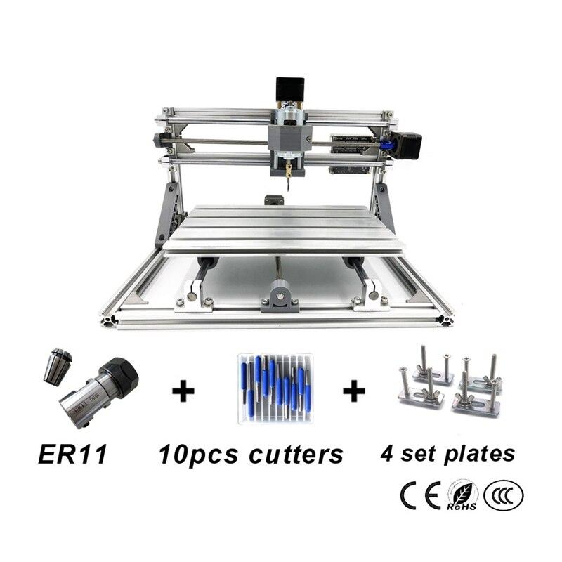 CNC 3018 pro avec ER11 bricolage mini CNC Machine de gravure Laser 3 axes en plastique acrylique Pcb PVC fraiseuse bois routeur Kits