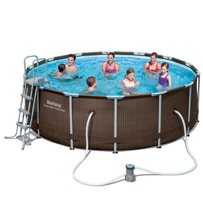 56647 56483 bestway 427 122cm power steel rattan frame - Bestway power steel frame pool ...