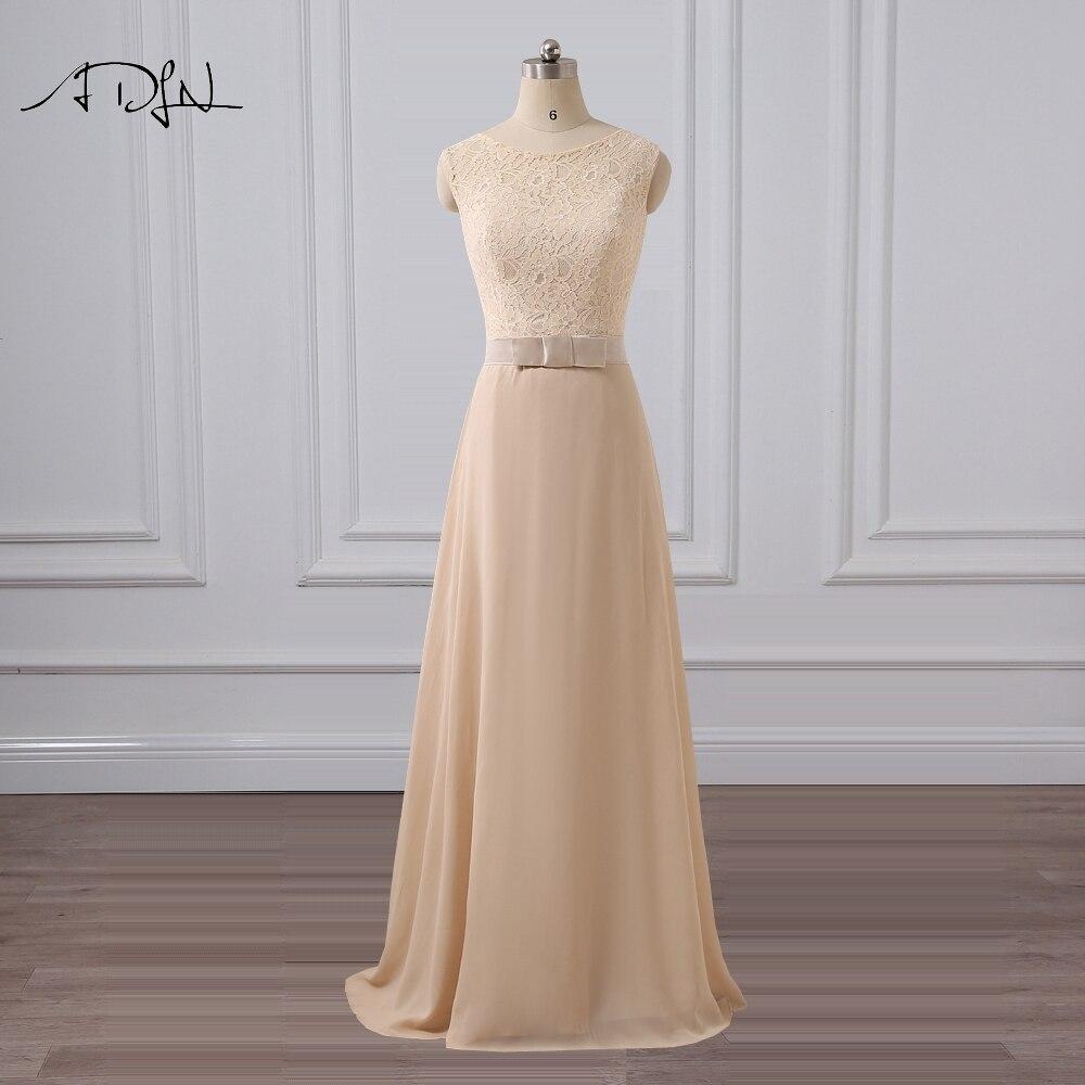 ADLN Jewel Champagne Evening Dress Simple A-line Lace Party Dresses Cheap Long  Chiffon Vestido De Festa cd500048d4c7