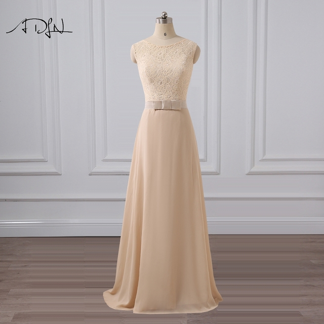 ADLN O-neck Champagne Evening Dress Simple A-line Floor Length Lace Prom Party Gown Cheap Special Occasion Dress