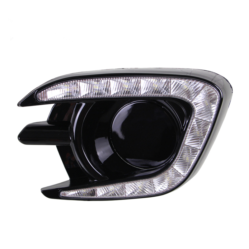 Matt or Gloss Style 12v LED CAR DRL Daytime Running Lights With Fog Lamp Hole For Mitsubishi Pajero Sport 2013 2014 2015 car tracing cauda laser light for mitsubishi pajero sport pajero dark 2008 2015 anti fog lamps rear anti collision lights